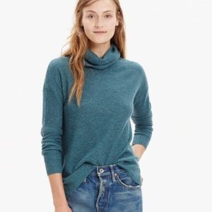 Madewell green ribbed turtleneck sweater Small
